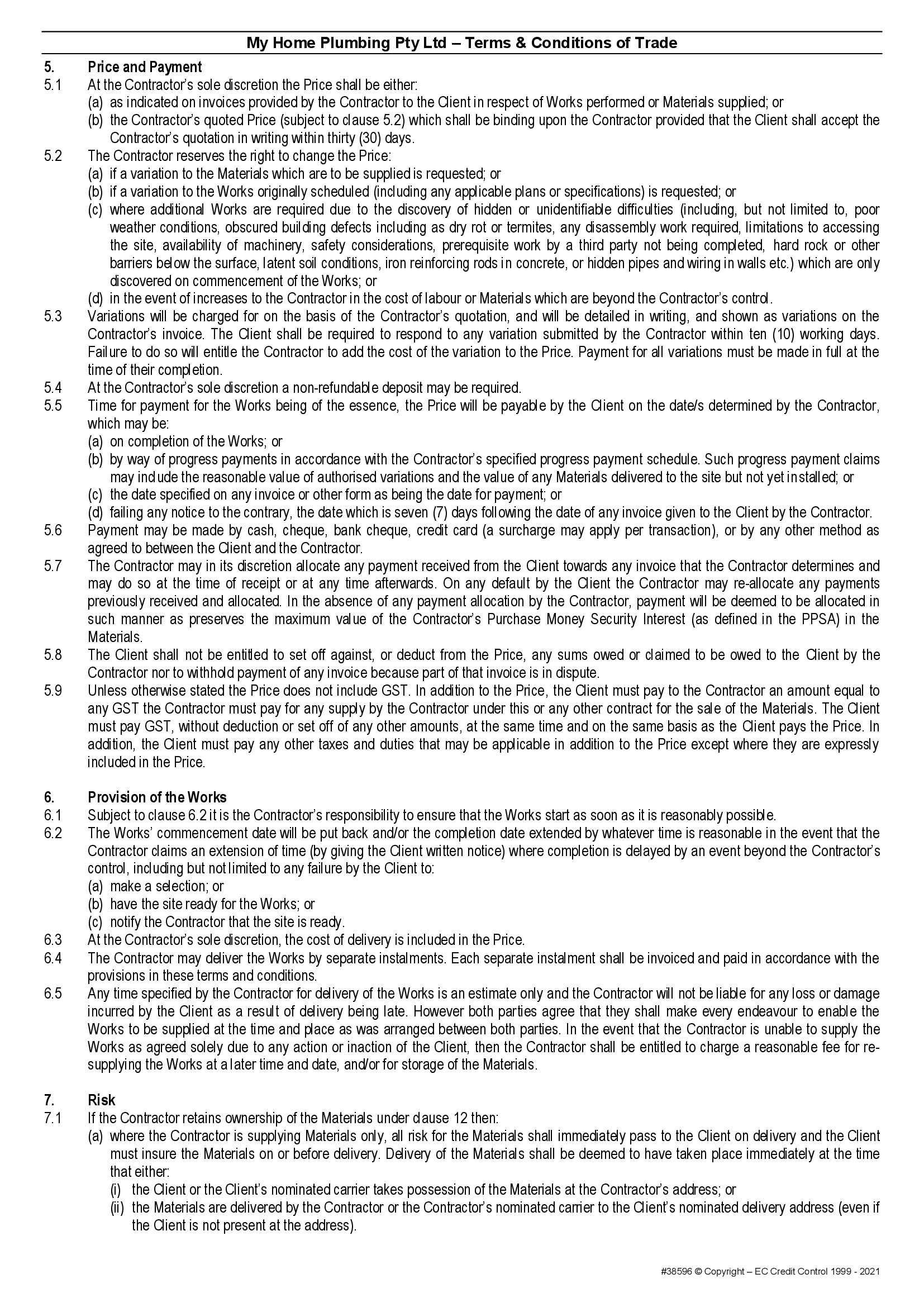 MHP terms and conditions page 2