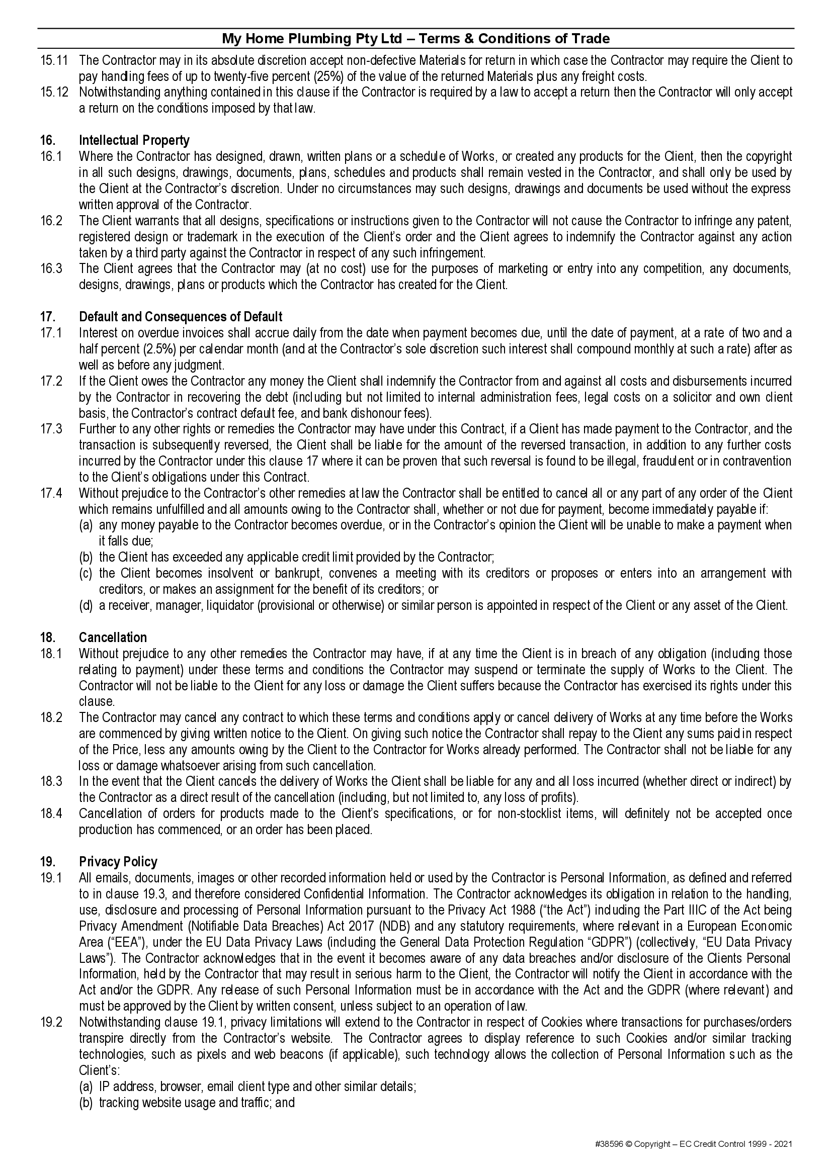 MHP terms and conditions page 6