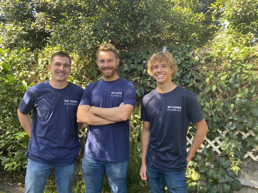 Photo of My Home Plumbing - Inner West Plumbers team, Tom, Sandy and Caleb in a Marrickville garden